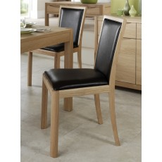Stockholm Oak Chair Dark Brown Bonded Leather