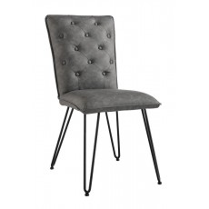 Studded Back Chair with Hair Pin Legs - Grey