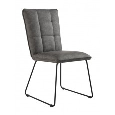 Padded Back Chair with Angled Legs - Grey