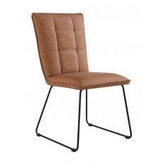 Padded Back Chair with Angled Legs - Tan