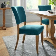 Portland Rustic Oak Sea Green Velvet Upholstered Chair