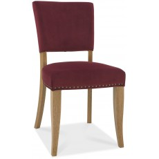 Portland Rustic Oak Crimson Velvet Upholstered Chair