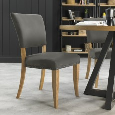 Portland Rustic Oak Dark Grey Upholstered Chair