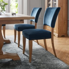 Portland Rustic Oak Dark Blue Velvet Upholstered Chair