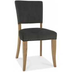 Portland Rustic Oak Gun Metal Upholstered Chair