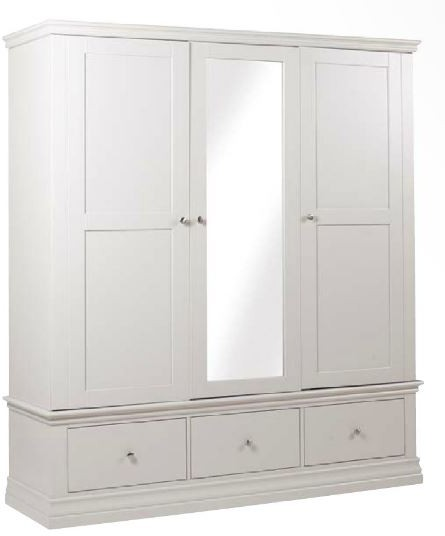 Alyssa Triple Wardrobe with 3 Drawers - Painted Top