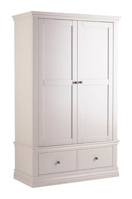 Alyssa Double Wardrobe with 2 Drawers - Painted Top